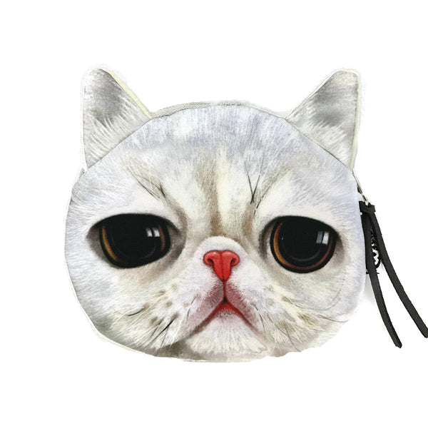Grumpy White Cat Coin Purse