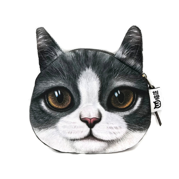 Cute Gray Cat Coin Purse, Bags & Wallets - www.thestoneflower.com
