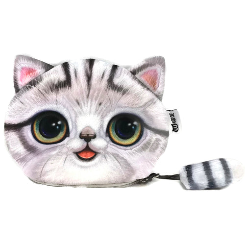White Tabby Cat Pouch, Coin Purses - www.thestoneflower.com