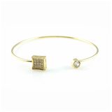 Crystal Pavé Square Bangle Bracelet, Bracelets - www.thestoneflower.com