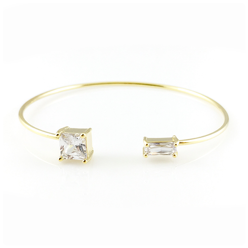 Crystal Squares Bangle Bracelet, Bracelets - www.thestoneflower.com
