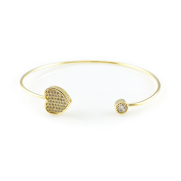 Crystal Pavé Heart Bangle Bracelet, Bracelets - www.thestoneflower.com