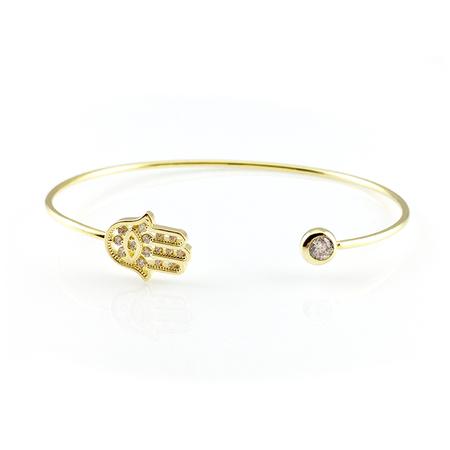 Blue Crystal Hamsa Bangle Bracelet