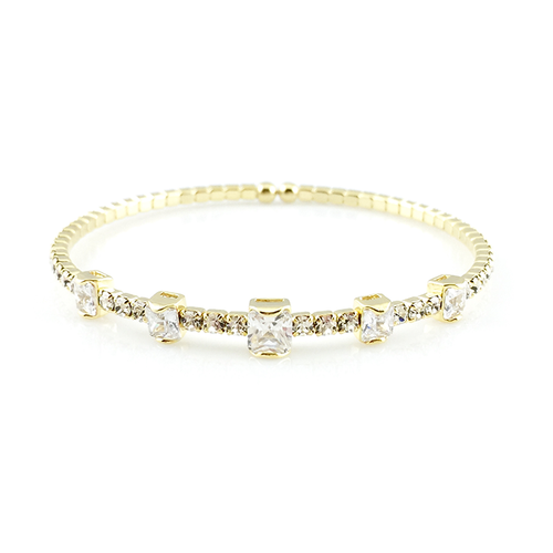 CZ Crystals Hinged Bangle Bracelet, Bracelets - www.thestoneflower.com