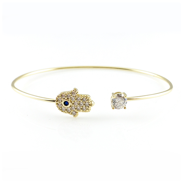 Blue Crystal Hamsa Bangle Bracelet, Bracelets - www.thestoneflower.com