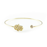 Crystal Hamsa Open Bangle Bracelet, Bracelets - www.thestoneflower.com