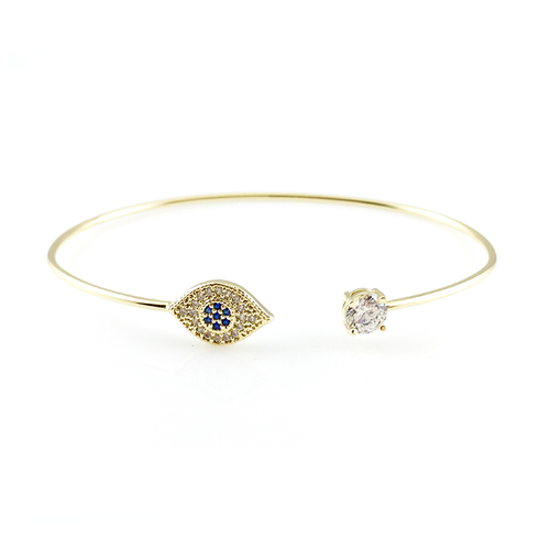 Evil Eye Open Bangle Bracelet, Bracelets - www.thestoneflower.com