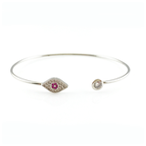 Red Evil Eye Open Bangle Bracelet, Bracelets - www.thestoneflower.com