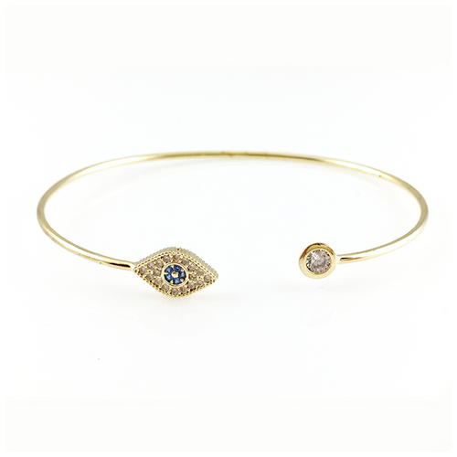 Blue Evil Eye Bangle Bracelet, Bracelets - www.thestoneflower.com