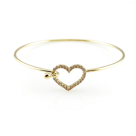 Crystal Hamsa Open Bangle Bracelet