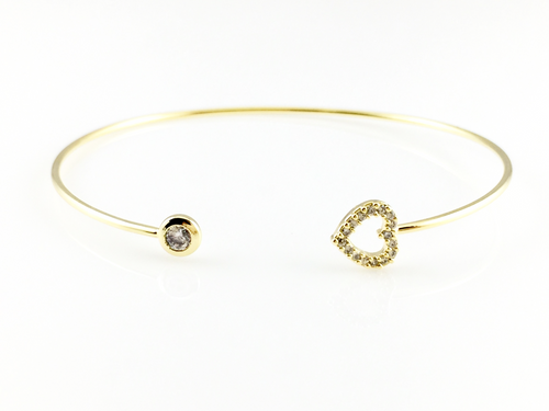 Open Heart Bangle Bracelet, Bracelets - www.thestoneflower.com
