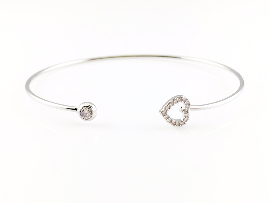 Open Heart Bangle Bracelet – Stone Flower efb942472