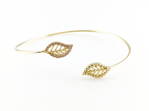 Golden Leafs Bangle Bracelet, Bracelets - www.thestoneflower.com