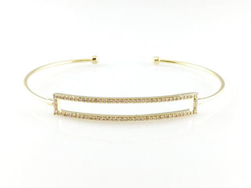 Crystal Pave Rectangle Bangle Bracelet, Bracelets - www.thestoneflower.com