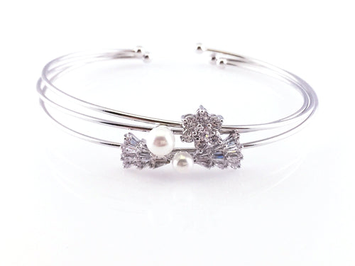Crystal Bow & Flower Bangle Bracelet, Bracelets - www.thestoneflower.com