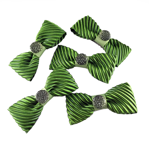 Green Velvet Mini Bow, Hair Accessories - www.thestoneflower.com