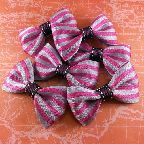Purple Striped Mini Bow, Hair Accessories - www.thestoneflower.com