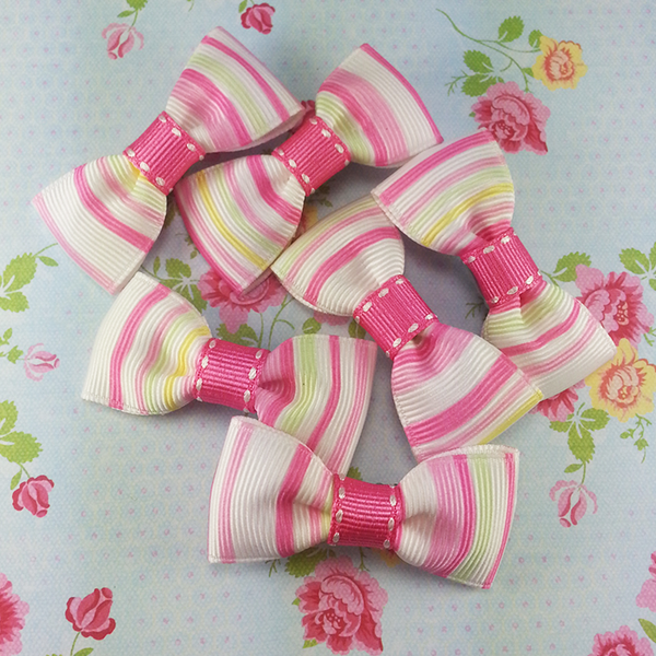 Pink Striped Mini Bow, Hair Accessories - www.thestoneflower.com