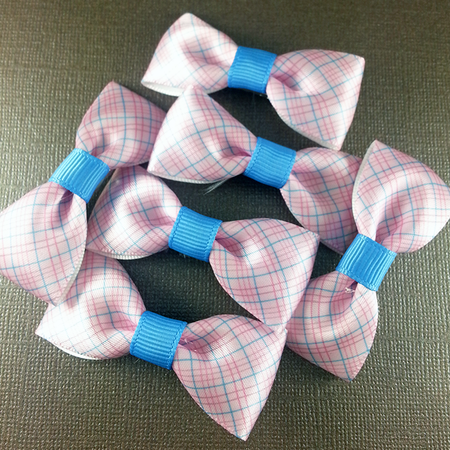 Blue Stitched Ribbon Mini Bow