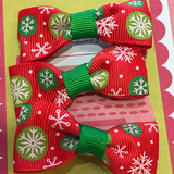 Red Snowflake Mini Bow, Hair Accessories - www.thestoneflower.com