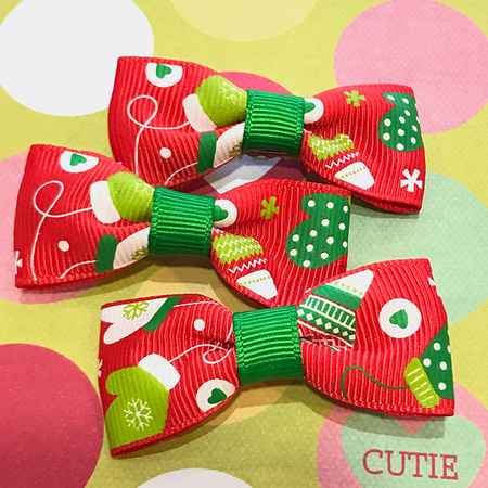 Green Floral Mini Bow
