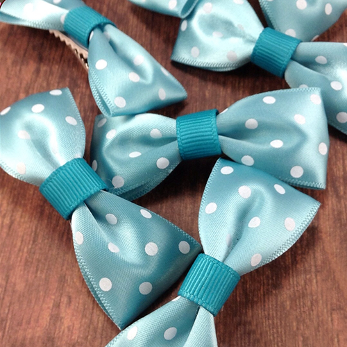 Silky Polkadots Mini Bow, Hair Accessories - www.thestoneflower.com