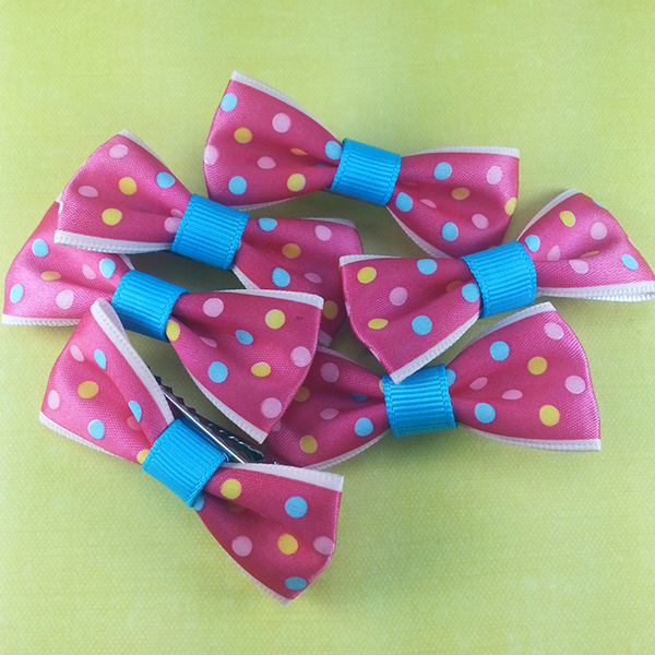 Rainbow Polkadots Mini Bow, Hair Accessories - www.thestoneflower.com