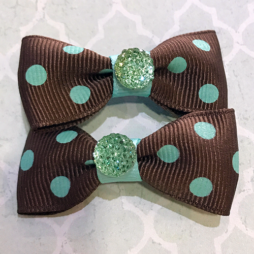 Shiny Dot Mini Bow, Hair Accessories - www.thestoneflower.com