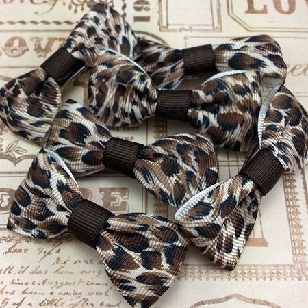 Silver & Brown Mini Bow