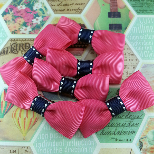 Blue Stitched Ribbon Mini Bow, Hair Accessories - www.thestoneflower.com
