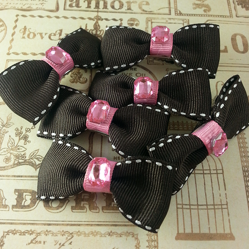 Square Jewel Mini Bow, Hair Accessories - www.thestoneflower.com