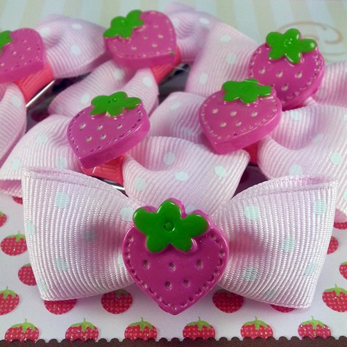 Pink Strawberry Mini Bow, Hair Accessories - www.thestoneflower.com