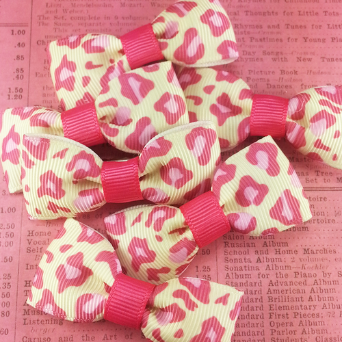 Pink Leopard Print Mini Bow, Hair Accessories - www.thestoneflower.com