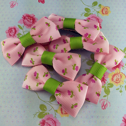 Pink Floral Mini Bow, Hair Accessories - www.thestoneflower.com