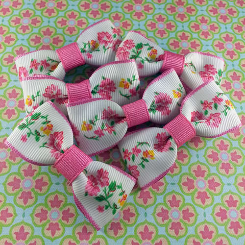 Pink Garden Mini Bow, Hair Accessories - www.thestoneflower.com