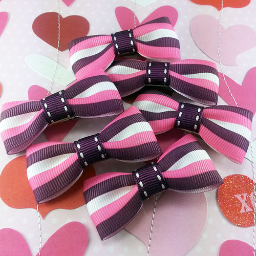 Pink & Purple Striped Mini Bow, Hair Accessories - www.thestoneflower.com