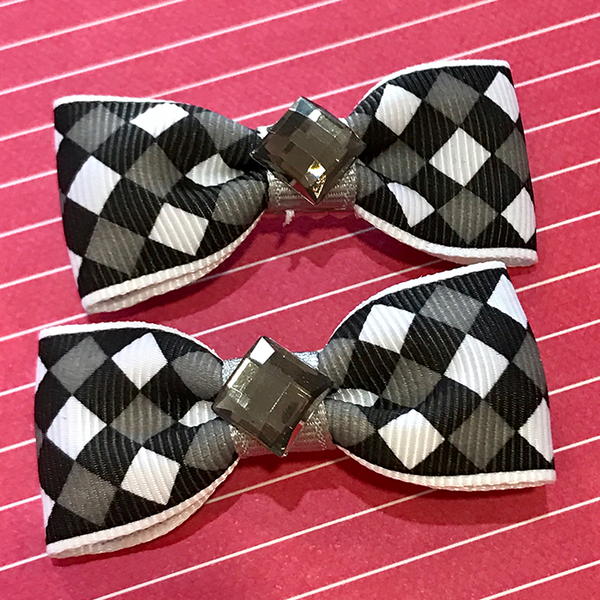 Black & White Dimond Mini Bow, Hair Accessories - www.thestoneflower.com