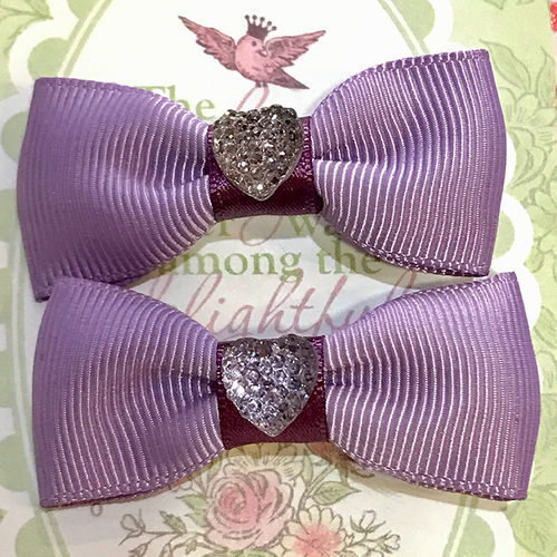 Shiny Heart Mini Bow, Hair Accessories - www.thestoneflower.com