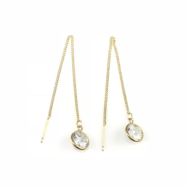 Crystal Linear Chain Drop Earrings, Earrings - www.thestoneflower.com