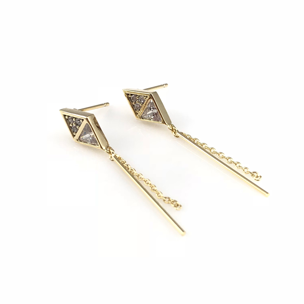 Crystal Linear Post Earrings, Earrings - www.thestoneflower.com