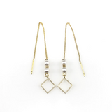 Square Linear Chain Drop Earrings, Earrings - www.thestoneflower.com