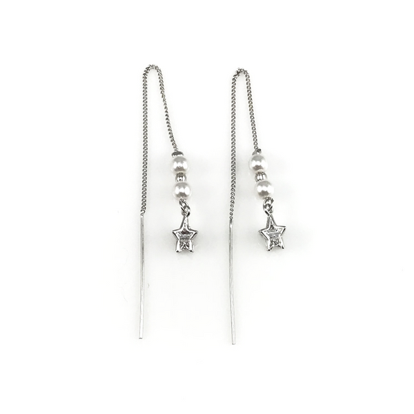 Star Linear Chain Drop Earrings, Earrings - www.thestoneflower.com