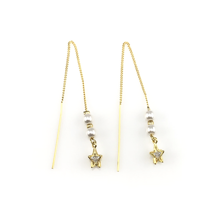 Crown Dangling Pearl Earrings