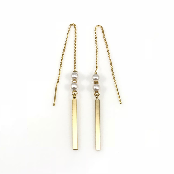 Bar Linear Chain Drop Earrings, Earrings - www.thestoneflower.com