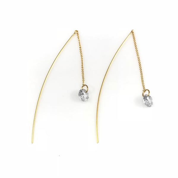 Round Crystal Linear Drop Earrings, Earrings - www.thestoneflower.com