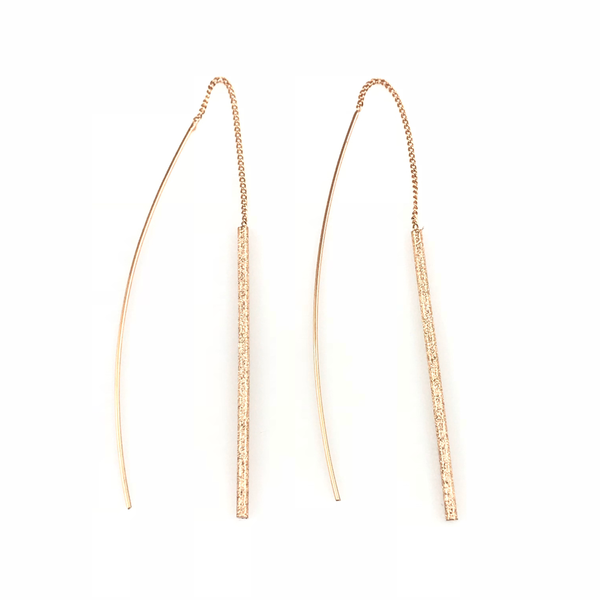 Rose Gold Bar Linear Drop Earrings, Earrings - www.thestoneflower.com