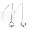 Silver Circle Linear Chain Drop Earrings, Earrings - www.thestoneflower.com