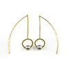 Gold Circle Linear Drop Earrings, Earrings - www.thestoneflower.com