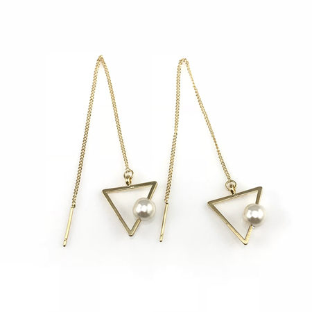 Gold Circle Linear Drop Earrings