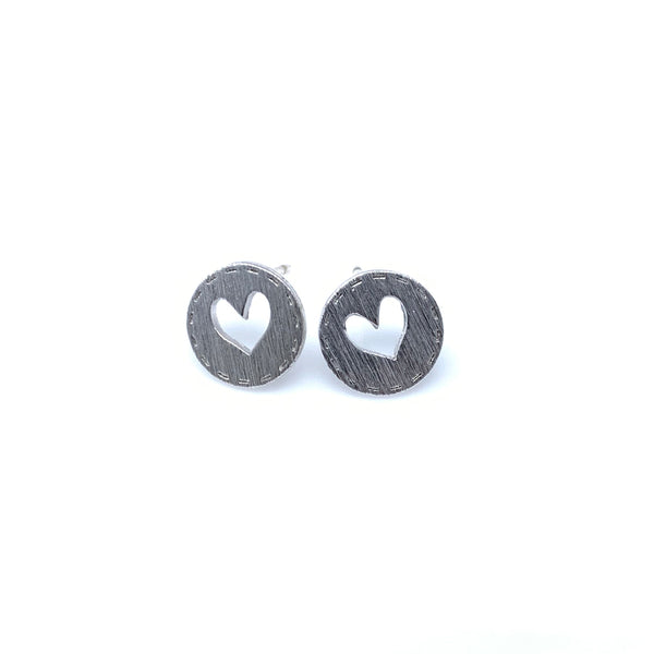 Heart Emblem Stud Earrings, Earrings - www.thestoneflower.com